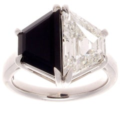 GIA Certified 2.27 Carat Diamond Onyx Platinum Ring