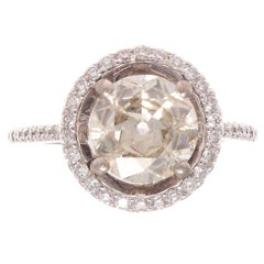 2.25 Carat Old European Cut Diamond Platinum Ring