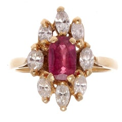 French 19th Century Ruby Diamond Gold Ring