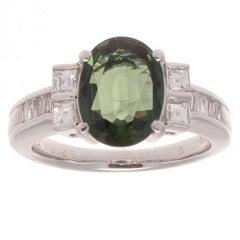 Green Sapphire Diamond Platinum Engagement Ring