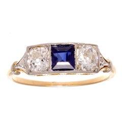 French Art Deco Sapphire Diamond Three-Stone Gold and Platinum Ring