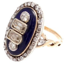 Georgian Enamel Diamond Gold Ring
