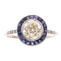 1.35 Diamond Sapphire Platinum Ring