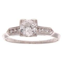 Art Deco 0.50 Carat Diamond Platinum Engagement Ring