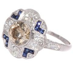 2 Carat Diamond Sapphire Platinum Ring