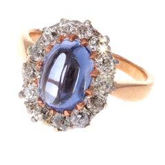 Vintage Cabochon Sapphire Diamond Gold Ring