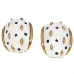 Enamel Gold Earrings