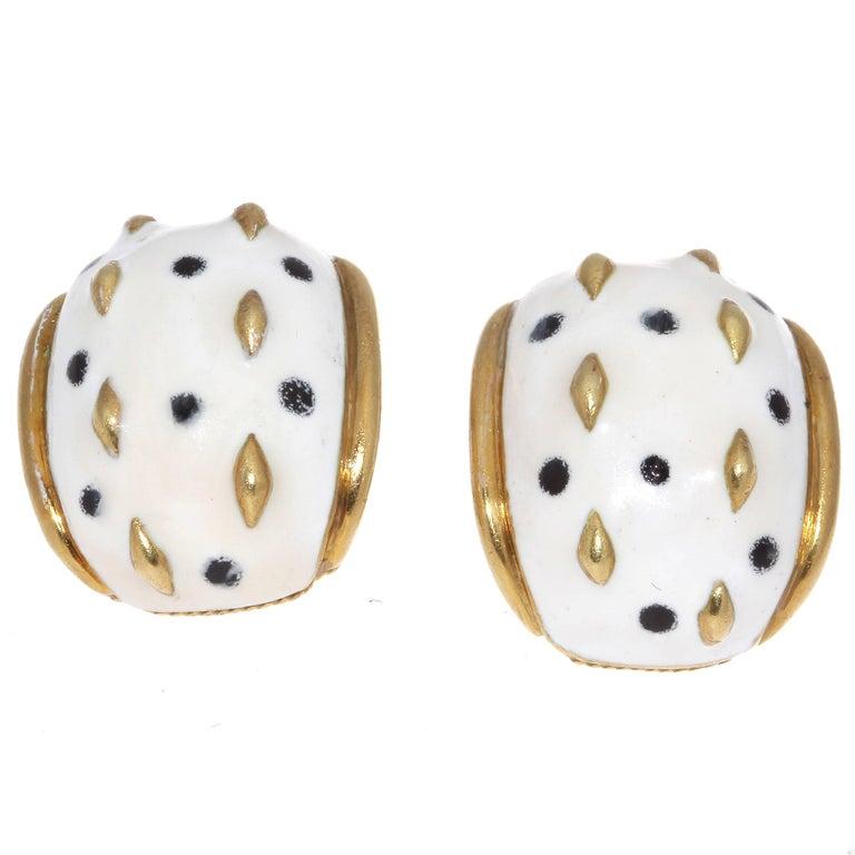 Enamel Gold Earrings