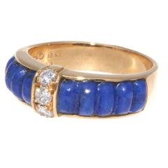 Van Cleef & Arpels Lapis Diamond Gold Ring
