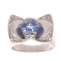 French Retro 1.97 Carat Sapphire Diamond Platinum Ring
