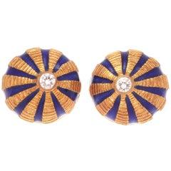Tiffany & Co. Schlumberger Diamond Enamel Gold Earrings