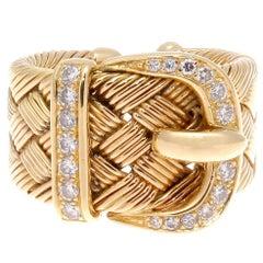Hermes Buckle Diamond Gold Ring
