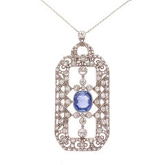 Art Deco AGL Burma No Heat Sapphire Diamond Platinum Necklace