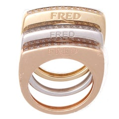 Fred Paris Success Diamond Gold Stackable Rings
