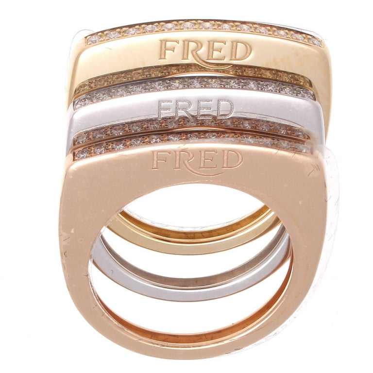 Fred Paris Success Diamond Gold Stackable Rings For Sale at 1stdibs