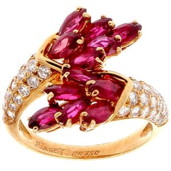 Piaget Ruby Diamond Gold Bypass Ring