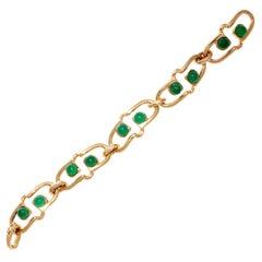 Iconic 1970s Van Cleef & Arpels Malachite Gold Link Bracelet