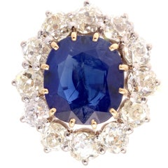 French Natural Certified Unheated Sapphire Diamond Gold Ring