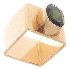 Modernist Cartier Dinh Van Green Toumaline Gold Ring