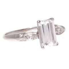 Art Deco GIA 1.07 Carat Emerald Cut Diamond Platinum Engagement Ring