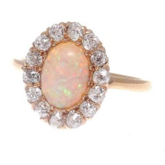 Edwardian Opal Diamond Gold Ring