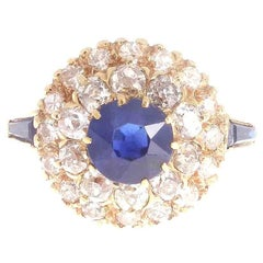Natural Sapphire Diamond Double Halo Gold Ring