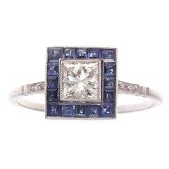 0.51 Carat Diamond Sapphire Platinum Ring