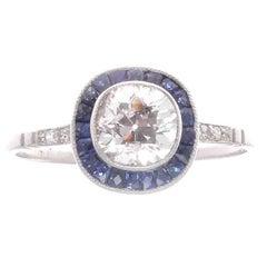 Old Mine Cut 0.92 Carat Diamond Sapphire Platinum Engagement Ring