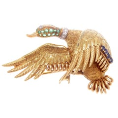 Vintage Hermes Diamond Sapphire Emerald Gliding Goose Gold Brooch