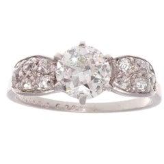 Mellerio Art Deco 1.01 Carat Diamond Platinum Engagement Ring
