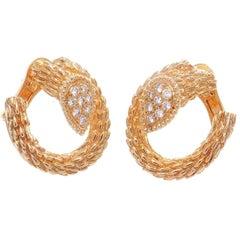 Boucheron Serpent Boheme Toi Et Moi Diamond Gold Earrings