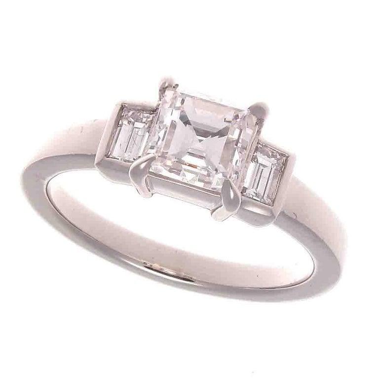 GIA 1.00 Carat Carre Cut Diamond Platinum Engagement Ring