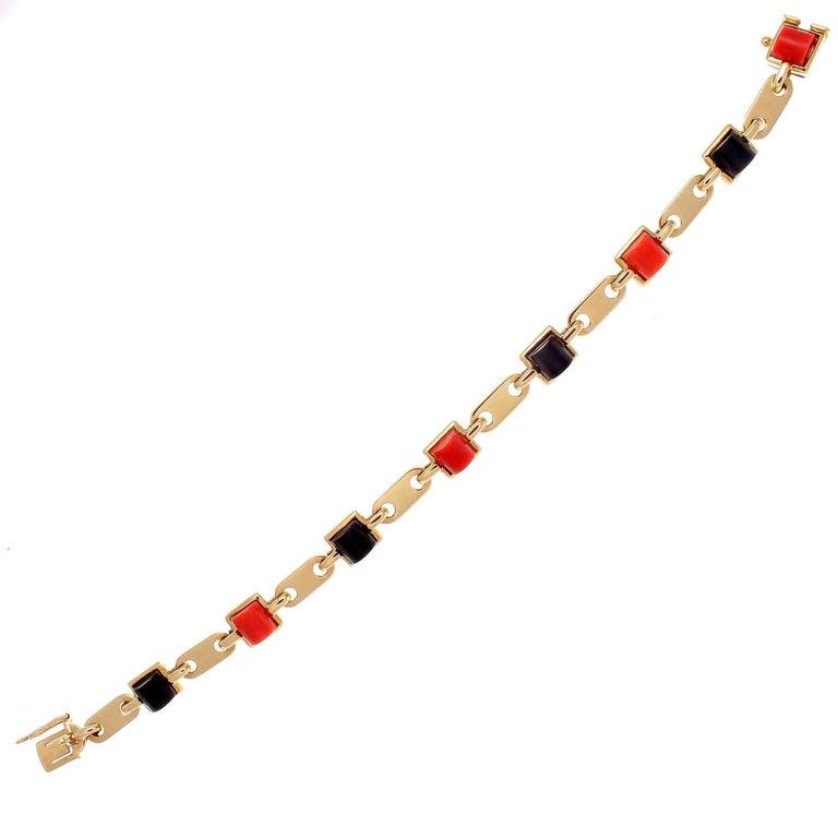 Vintage Cartier Coral Onyx Gold Bracelet
