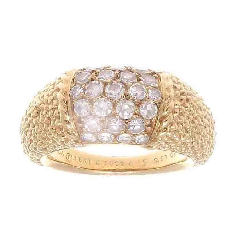 Large Van Cleef & Arpels Diamond Textured Gold Philippine Ring