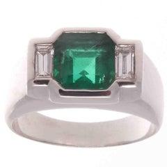 French Emerald Diamond Platinum Ring