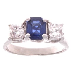 Natural Sapphire Diamond Platinum Engagement Ring