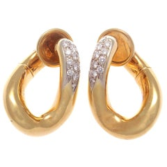Pomelatto Diamond Gold Hoop Earrings