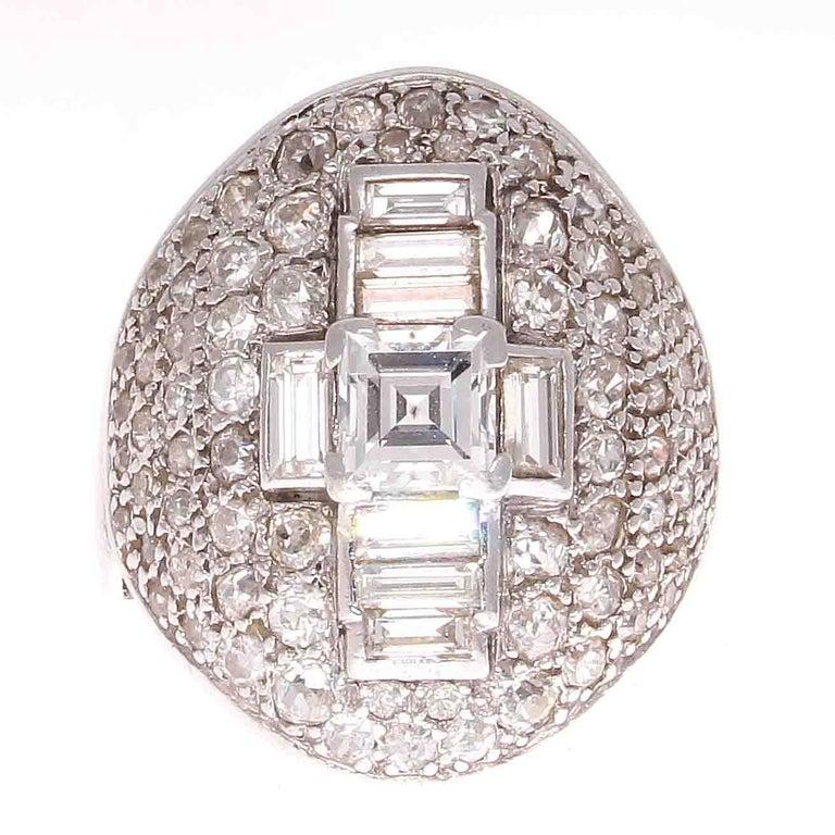 French Art Deco Diamond Platinum Cocktail Ring