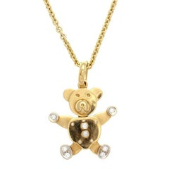 Pomellato Diamond Gold Teddy Bear Necklace