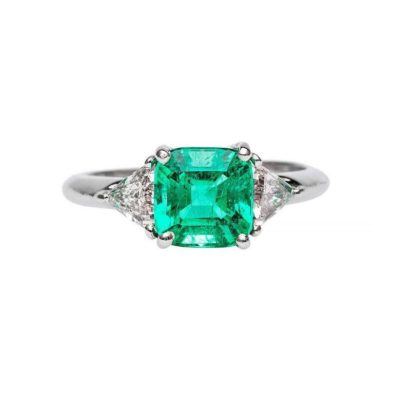 1.84 Carat Emerald Diamond Platinum Engagement Ring