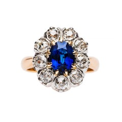 French Art Deco Sapphire Diamond Gold Cluster Ring