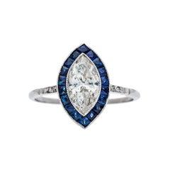0.88 Carat Diamond Sapphire Platinum Engagement Ring