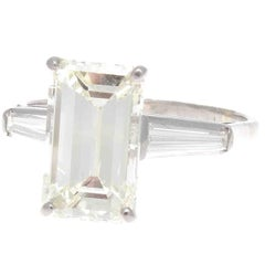 French 3.01 Carat Emerald Cut Diamond Platinum Engagement Ring