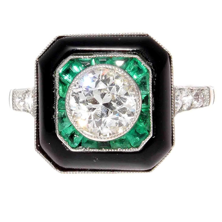 Diamond Emerald Onyx Platinum Engagement Ring