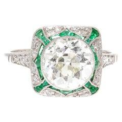 2.29 Carat Old European Cut Diamond Emerald Platinum Engagement Ring