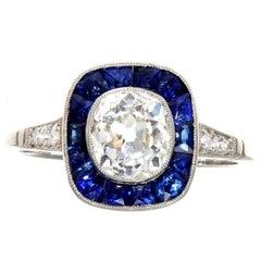 1.11 Carat Old European Cut Diamond Sapphire Platinum Ring