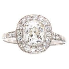 1.03 Carat Old Mine Cut Diamond Platinum Ring