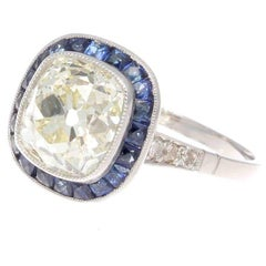2.75 Carat Old Mine Cut Diamond Sapphire Platinum Halo Engagement Ring