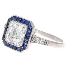 1.10 Carat Diamond Sapphire Halo Platinum Engagement Ring