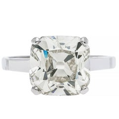Edwardian 3.98 Carat Old Mine Cut Diamond Platinum Engagement Ring